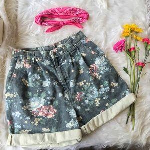 Vintage Vivaldi High Waist Floral Denim Mom Shorts